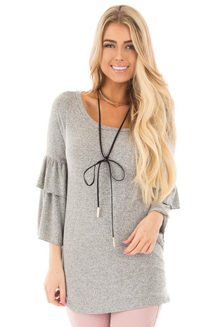 Heather Grey Tiered Ruffle Sleeve Detail Top front close up