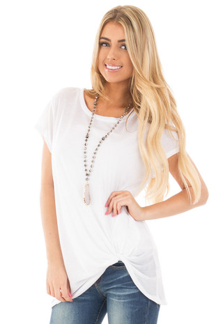 White Loose Fit Cap Sleeve with Twist Knot Top front close up
