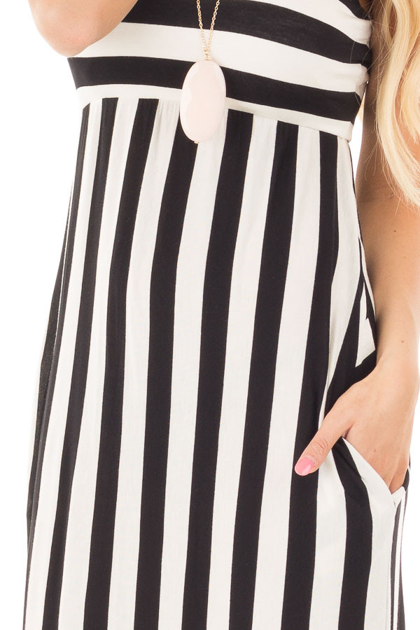 Black and White Striped Tank Maxi Dress with Side Pockets detail
