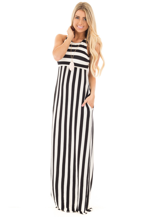 Black and White Striped Tank Maxi Dress with Side Pockets front full body