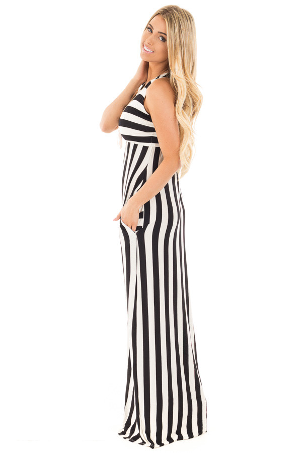 Black and White Striped Tank Maxi Dress with Side Pockets side full body
