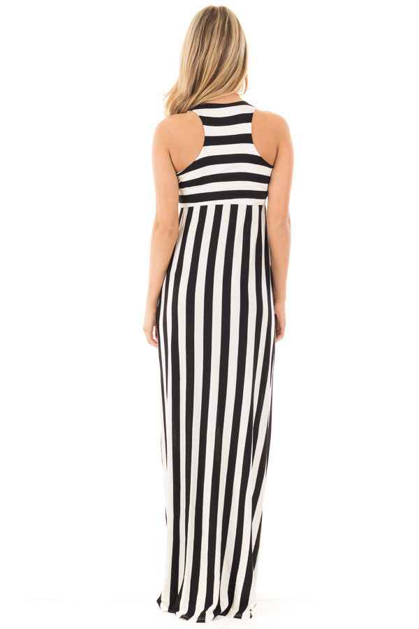 Black and White Striped Tank Maxi Dress with Side Pockets back full body