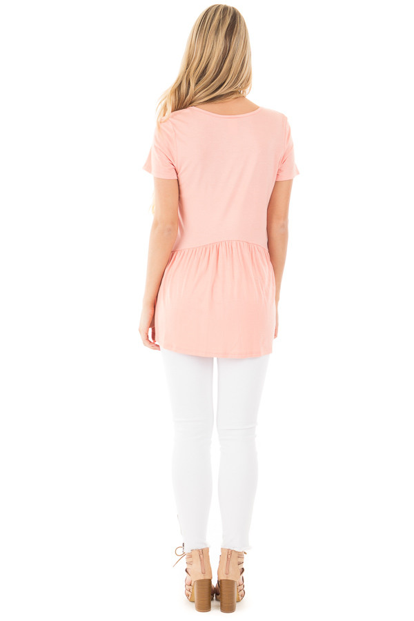 Blush V Neck Tee with Gathered Babydoll Waistline back full body