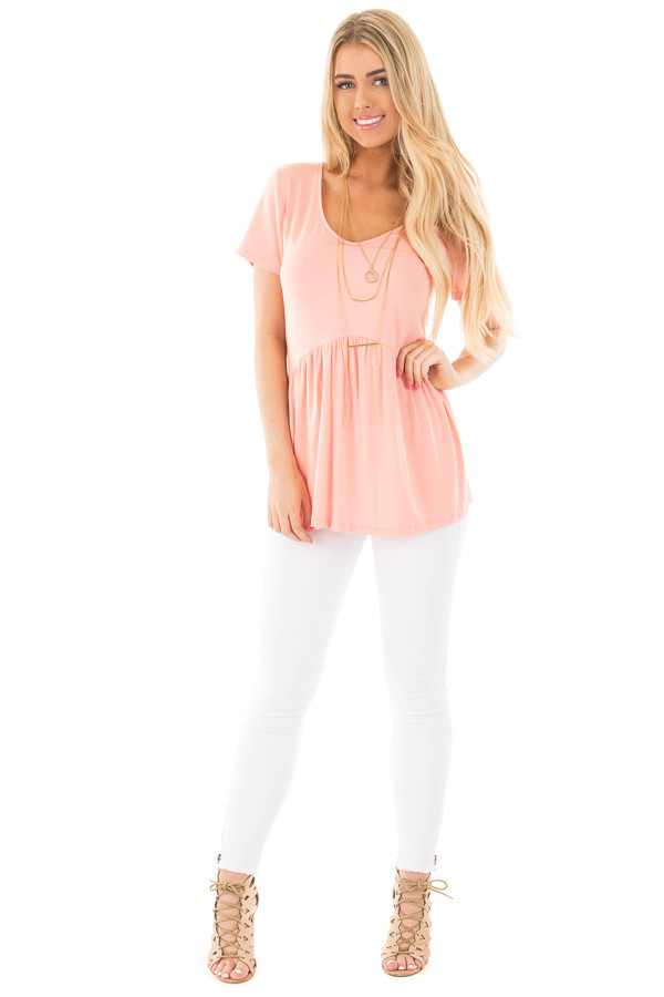 Blush V Neck Tee with Gathered Babydoll Waistline front full body