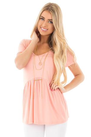 Blush V Neck Tee with Gathered Babydoll Waistline front close up