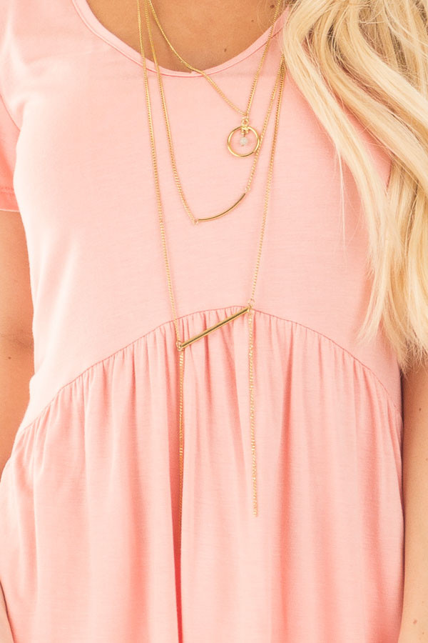 Blush V Neck Tee with Gathered Babydoll Waistline detail