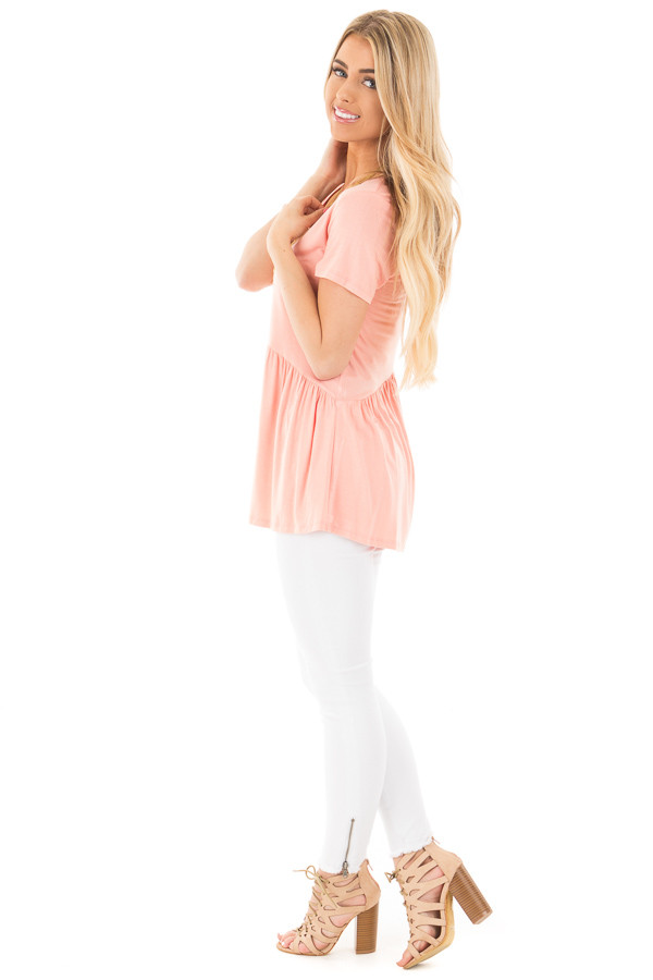 Blush V Neck Tee with Gathered Babydoll Waistline side full body