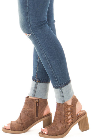 Tan Faux Leather Open Ankle Boot with Stitched Lace Up Detail