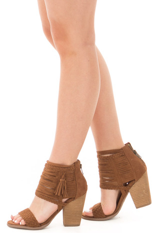Tan Faux Suede Strappy Heeled Sandal with Braided Detail