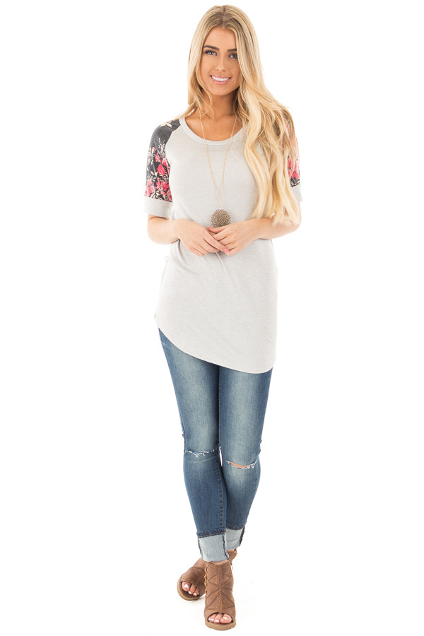 Grey Two Tone Baseball Tee with Charcoal Floral Sleeves front full body