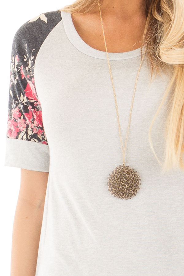 Grey Two Tone Baseball Tee with Charcoal Floral Sleeves detail
