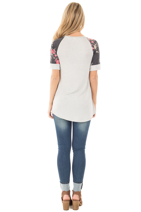 Grey Two Tone Baseball Tee with Charcoal Floral Sleeves back full body