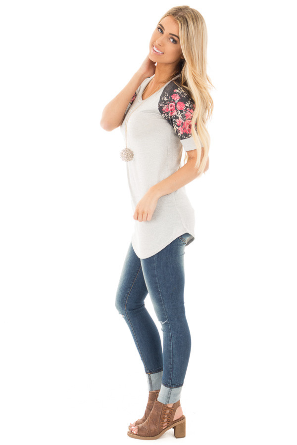 Grey Two Tone Baseball Tee with Charcoal Floral Sleeves side full body