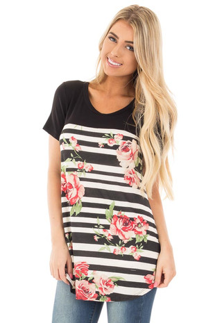 Charcoal and Ivory Stripe Floral Tee with Black Top front close up