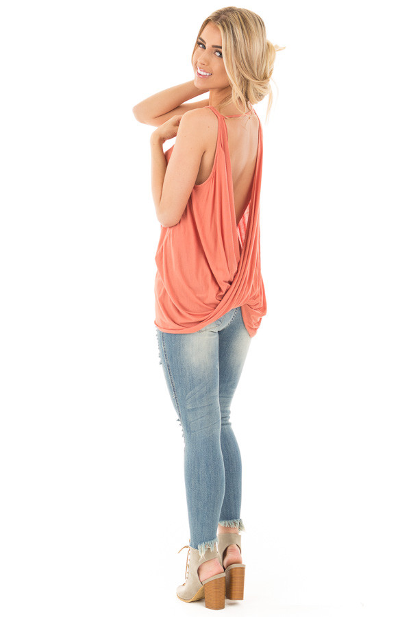 Dusty Coral Sleeveless Top with Twisted Drop Back back side full body