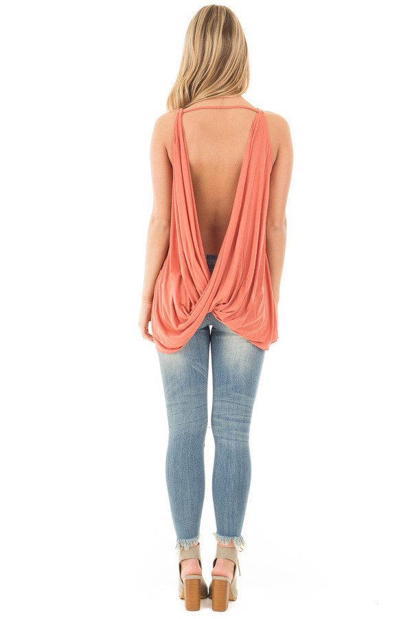 Dusty Coral Sleeveless Top with Twisted Drop Back back full body