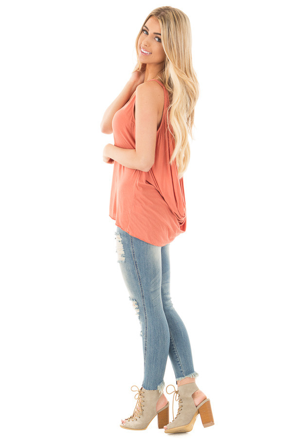 Dusty Coral Sleeveless Top with Twisted Drop Back side full body