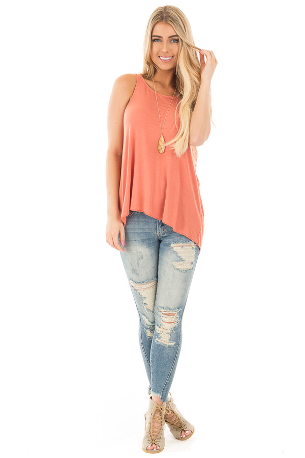 Dusty Coral Sleeveless Top with Twisted Drop Back front full body