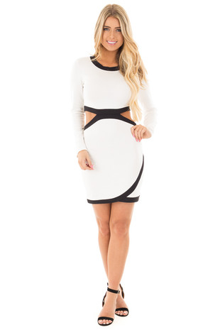 White and Black Long Sleeve Dress with Cutout Detail front full body