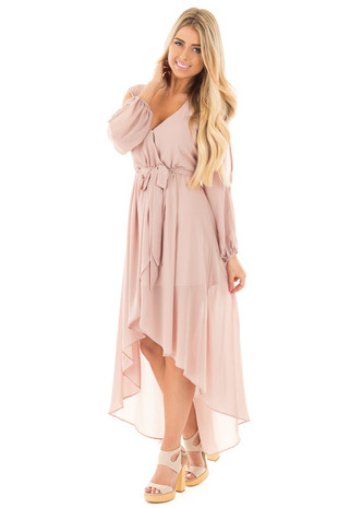 Taupe Chiffon Hi Low Maxi Dress with Waist Tie Detail front full body