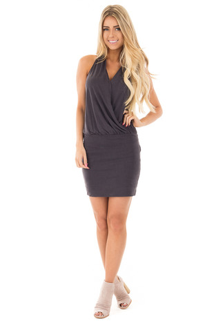 Black Suede Halter V-Neck Knit Dress front full body