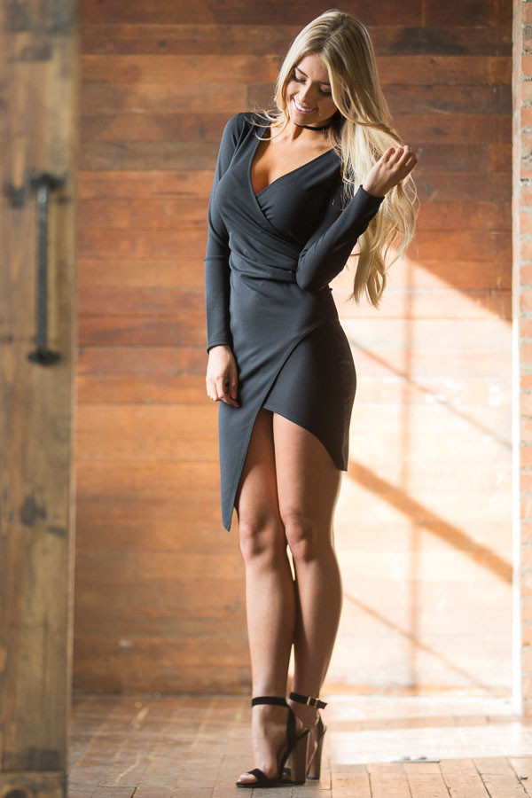 Black Long Sleeve Fitted Dress with Slit and Gather front full body