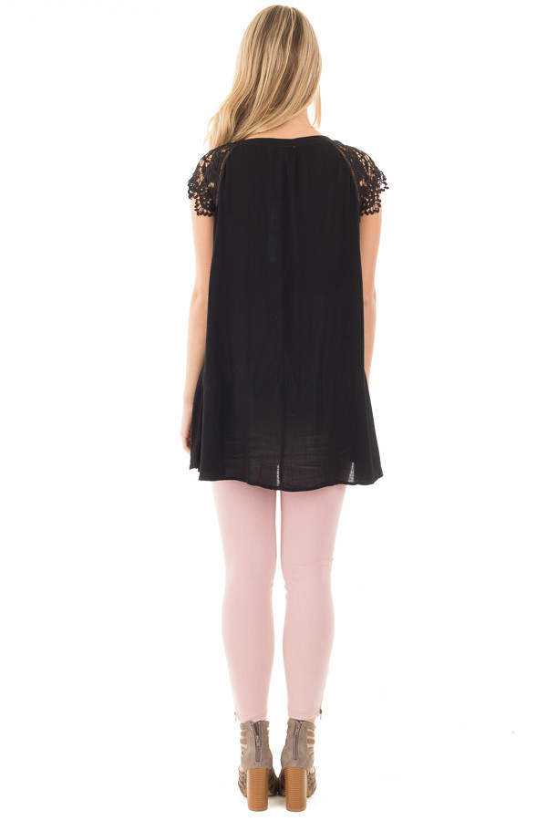 Black Woven Tunic Top with Lace Sleeves and Lace Up Front back full body