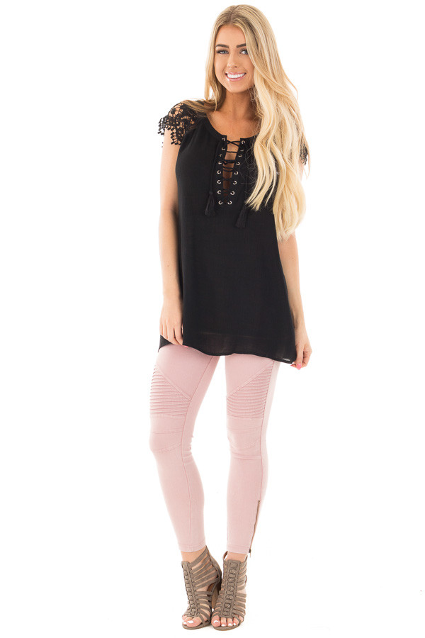 Black Woven Tunic Top with Lace Sleeves and Lace Up Front front full body