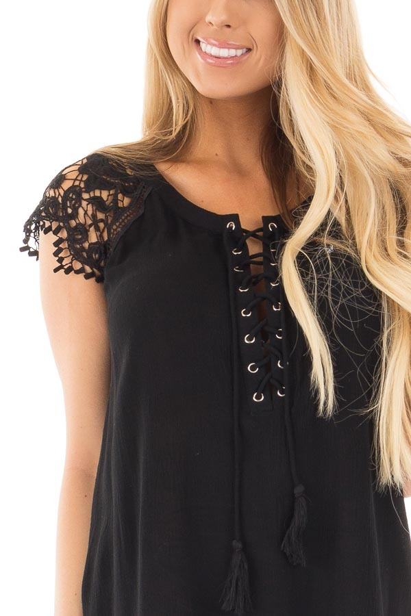 Black Woven Tunic Top with Lace Sleeves and Lace Up Front detail