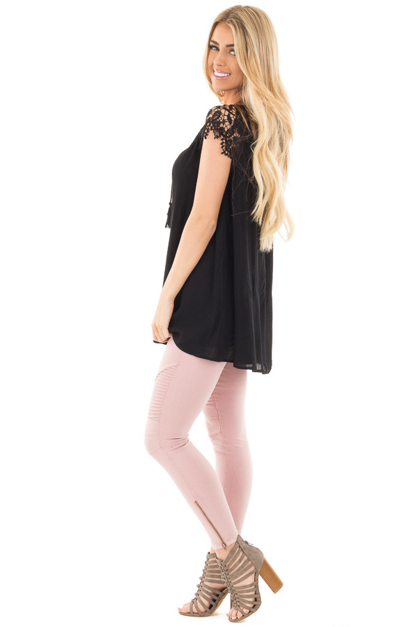 Black Woven Tunic Top with Lace Sleeves and Lace Up Front side full body