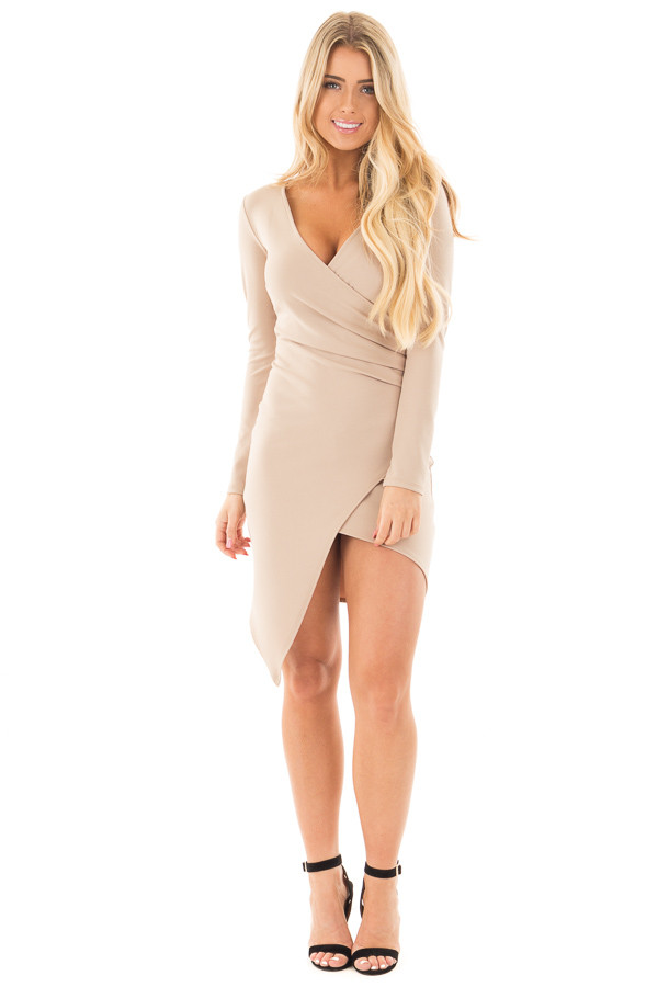 Tan Long Sleeve Fitted Dress with Slit and Gather | Boutique ...