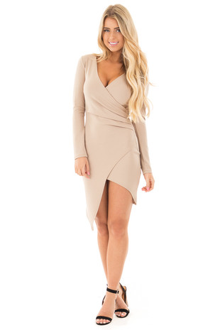 Tan Long Sleeve Fitted Dress with Slit and Gather front full body