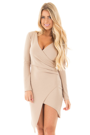 Tan Long Sleeve Fitted Dress with Slit and Gather front close up