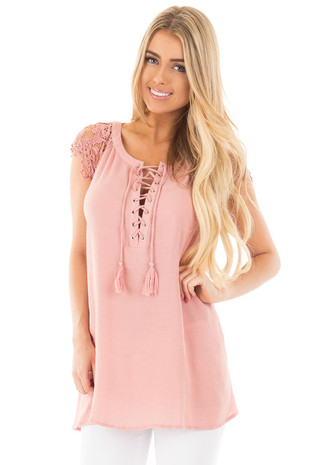 Dusty Pink Woven Tunic Top with Lace Sleeves and Lace Up Front front close up