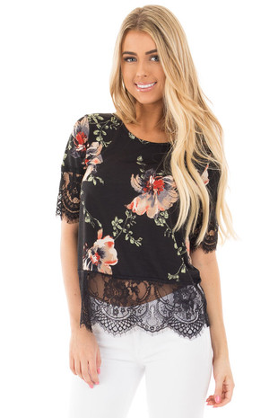 Black Multi Floral Lace Crop Knit Top front close up