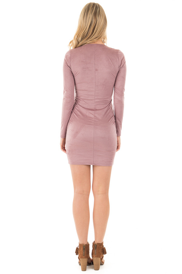 Mauve Suede Long Sleeve Lace Up Detail Dress back full body
