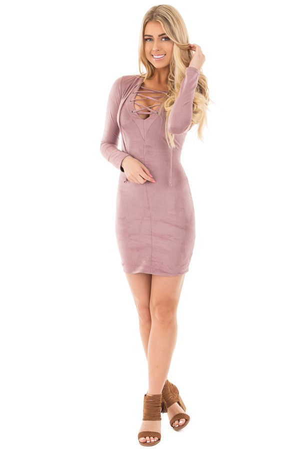 Mauve Suede Long Sleeve Lace Up Detail Dress front full body