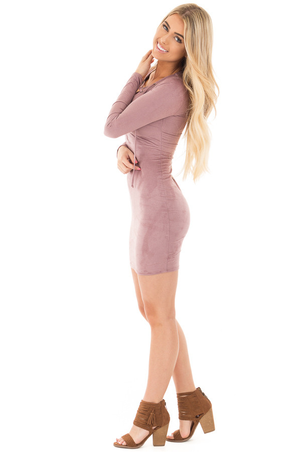 Mauve Suede Long Sleeve Lace Up Detail Dress side full body