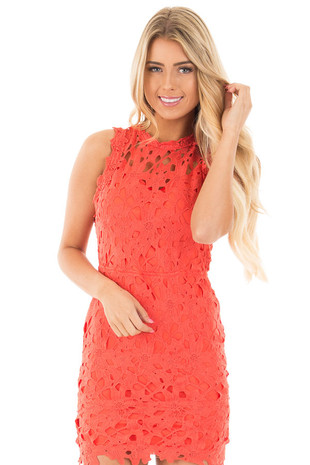 Tomato Crochet Sleeveless Open Back Dress front close up