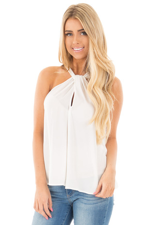 Ivory Sleeveless Woven Keyhole Twist Front Detail Top front close up