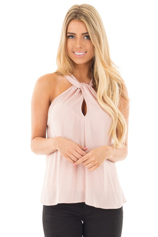 Blush Sleeveless Woven Keyhole Twist Front Detail Top front close up