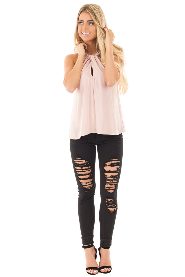 Blush Sleeveless Woven Keyhole Twist Front Detail Top front full body