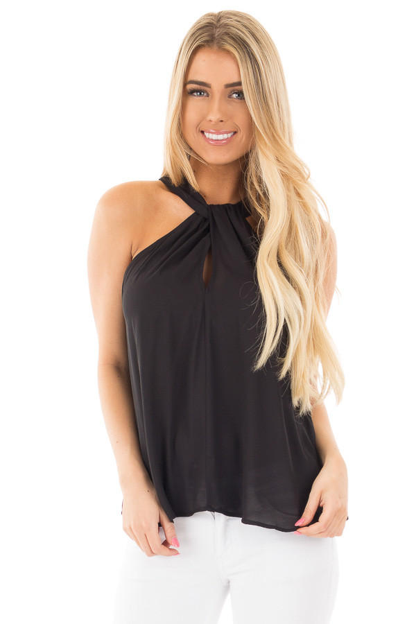 Black Sleeveless Woven Keyhole Twist Front Detail front close up