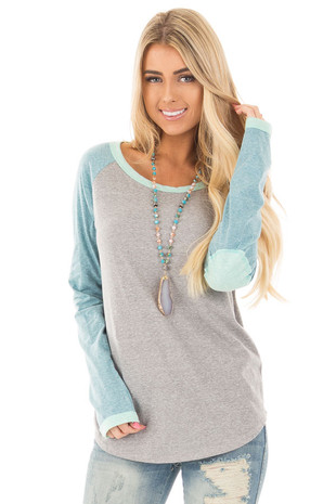 Grey Baseball Long Sleeve Tee with Mint Elbow Patches front close up
