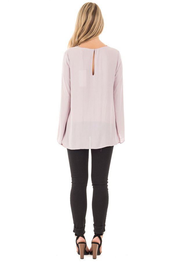 Cloud Grey Blouse with Criss Cross Neckline and Bell Sleeves back full body