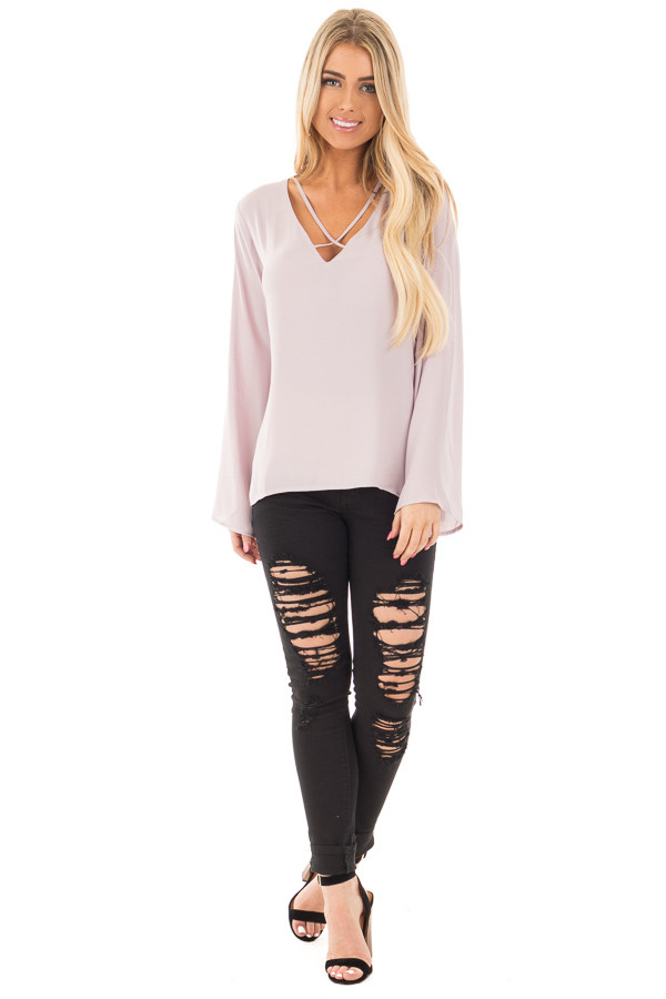 Cloud Grey Blouse with Criss Cross Neckline and Bell Sleeves front full body