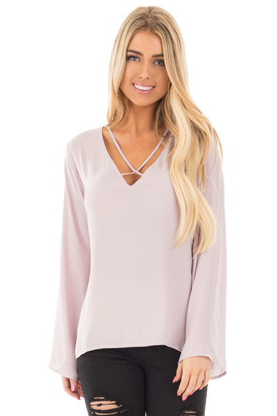 Cloud Grey Blouse with Criss Cross Neckline and Bell Sleeves front close up
