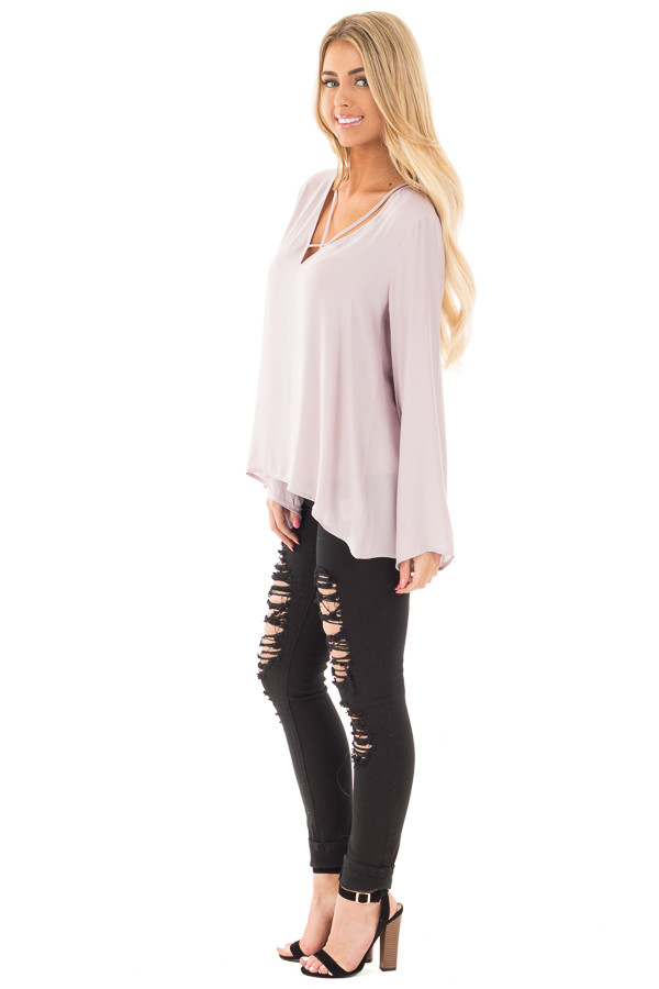 Cloud Grey Blouse with Criss Cross Neckline and Bell Sleeves side full body