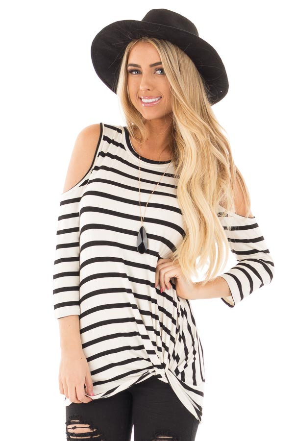 Black and Off White Striped 3/4 Sleeve Open Shoulder Twist Knot Top front close up