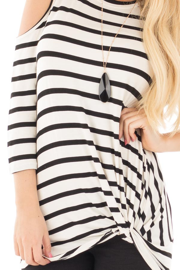 Black and Off White Striped 3/4 Sleeve Open Shoulder Twist Knot Top detail